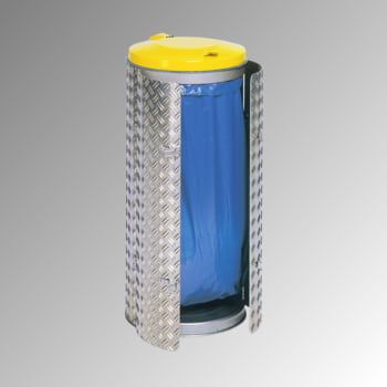 Abfallbehälter aus Edelstahl u. Alu-Duett-Blech - Inh. 120 l - Deckelfarbe gelb