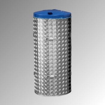 Abfallbehälter aus Edelstahl u. Alu-Duett-Blech - Inh. 120 l - Deckelfarbe blau