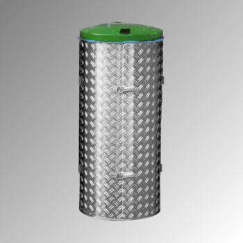 Abfallbehälter aus Edelstahl u. Alu-Duett-Blech - Inh. 120 l - Deckelfarbe grün