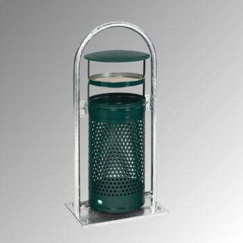 Abfallbehälter mit Ascher - 65 l - für Außeneinsatz - 580x380x1280mm - moosgrün