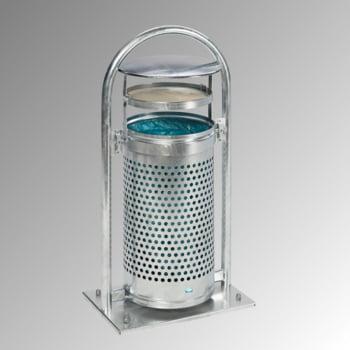 Abfallbehälter mit Ascher - 65 l - für Außeneinsatz - 580x380x1280mm - verzinkt