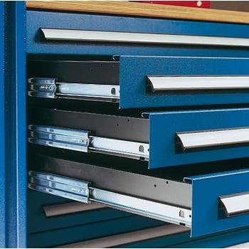 Werkzeugschrank - Schlitzplatten - 4 Schubladen - 1 Boden - Arbeitsplatte - grau/blau online kaufen - Verwendung 2