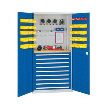 Werkzeugschrank - Schlitzplatten - 4 Schubladen - 1 Boden - Arbeitsplatte - grau/blau online kaufen - Verwendung 0