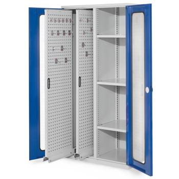 Werkzeugschrank - 2 Vertikalauszüge, 3 Fachböden - Farbe enzianblau, Türen mit Sichtfenstern, 1.950 x 1.000 x 600 mm (HxBxT) online kaufen - Verwendung 0