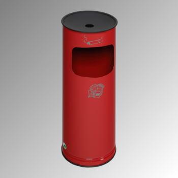 Abfallsammler - schwarzer Ascheraufsatz - rund - Volumen 17 l - 610 x 250 x 250 mm (HxBxT) - feuerrot
