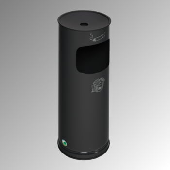Abfallsammler - schwarzer Ascheraufsatz - rund - Volumen 17 l - 610 x 250 x 250 mm (HxBxT) - schwarzgrau