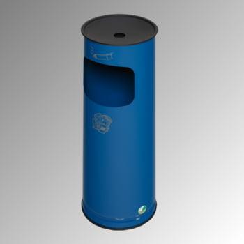 Abfallsammler - schwarzer Ascheraufsatz - rund - Volumen 17 l - 610 x 250 x 250 mm (HxBxT) - enzianblau