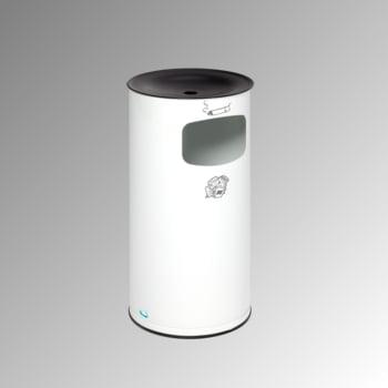Abfallsammler - schwarzer Ascheraufsatz - rund - Volumen 44 l - 710 x 355 x 355 mm (HxBxT) - verkehrsweiß