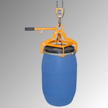 Fassgreifer - Traglast 350 kg - für stehende 120-l Kunststoff-Fässer - gelborange