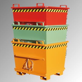 Klappbodenbehälter - 700 l - konisch - 1200x1040x971mm - stapelbar - gelborange