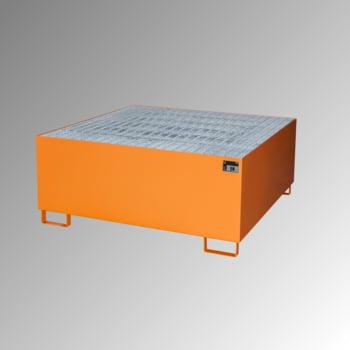 Auffangwanne mit Gitterrost - 1 x IBC - Volumen 1.000 l - gelborange