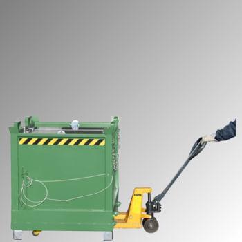 Klappbodenbehälter - 2.000 l Volumen - 1.500 kg - kranbar - gelborange online kaufen - Verwendung 2