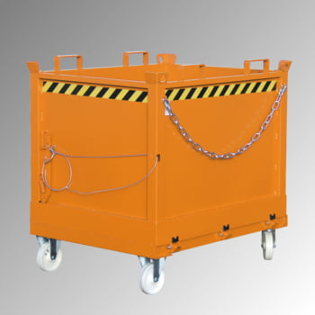 Klappbodenbehälter - 2.000 l Volumen - 1.500 kg - kranbar - gelborange online kaufen - Verwendung 3