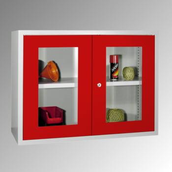 Stahl-Hängeschrank - 2 Sichtfenstertüren - 600x800x300 mm (HxBxT) - lichtgrau/himmelblau