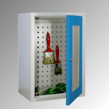 Stahl-Hängeschrank - 1 Sichtfenstertür - Rückwand gelocht - 600x400x300 mm (HxBxT) - lichtgrau/enzianblau