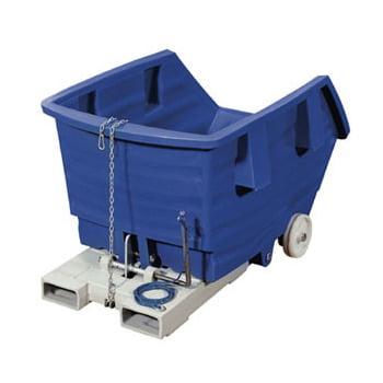PE-Kippbehälter - 500 l - 150 kg - 830x960x1530mm - Staplertaschen - Radsatz - blau