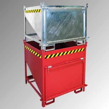 Schüttgutbehälter - Silobehälter - 750 l, 1.000kg - Farbe feuerrot, stirnseitige Klappe, Einfahrtaschen für Gabelstapler