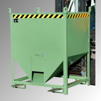 Silobehälter - 750 l Volumen - 1000 kg Tragkraft - Schiebeverschluss - resedagrün