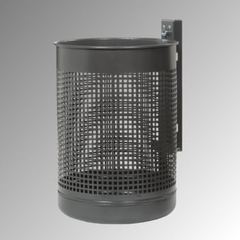 Abfallbehälter mit gelochtem Korpus - Stahlblech - 50 l - moosgrün