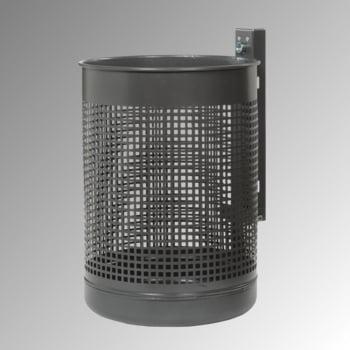 Abfallbehälter mit gelochtem Korpus - Stahlblech - 50 l - anthrazitgrau