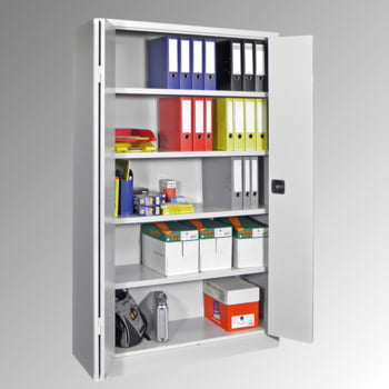 Falttürenschrank - 1.950x1.500x600 mm (HxBxT) - 4 Einlegeböden, verzinkt - Zylinderschloss - lichtgrau/enzianblau online kaufen - Verwendung 2