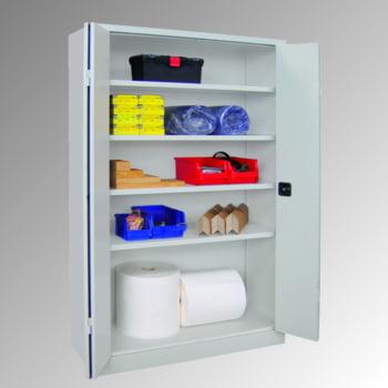 Falttürenschrank - 1.950x1.500x600 mm (HxBxT) - 4 Einlegeböden, verzinkt - Zylinderschloss - lichtgrau/enzianblau online kaufen - Verwendung 4