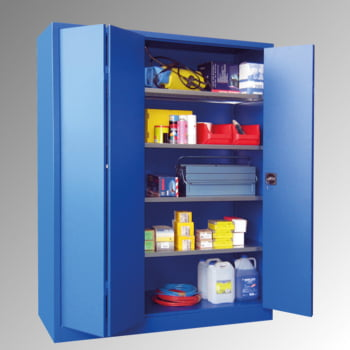 Falttürenschrank - 1.950x1.500x600 mm (HxBxT) - 4 Einlegeböden, verzinkt - Zylinderschloss - lichtgrau/enzianblau online kaufen - Verwendung 5
