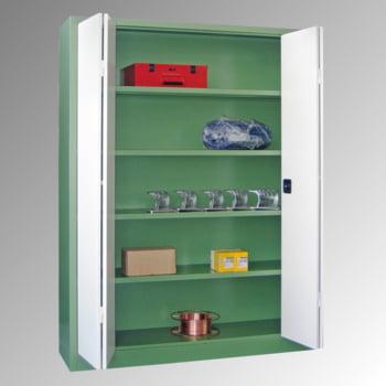 Falttürenschrank - 1.950x1.500x600 mm (HxBxT) - 4 Einlegeböden, verzinkt - Zylinderschloss - lichtgrau/enzianblau online kaufen - Verwendung 6