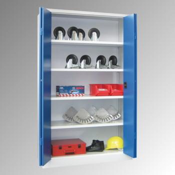 Falttürenschrank - 1.950x1.500x600 mm (HxBxT) - 4 Einlegeböden, verzinkt - Zylinderschloss - lichtgrau/enzianblau online kaufen - Verwendung 7