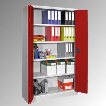 Falttürenschrank - 1.950x1.500x600 mm (HxBxT) - 4 Einlegeböden, verzinkt - Zylinderschloss - lichtgrau/enzianblau online kaufen - Verwendung 0