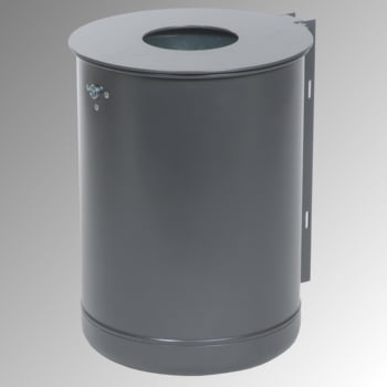 Rund-Abfallbehälter mit Deckelscheibe - 50 l - verzinkt