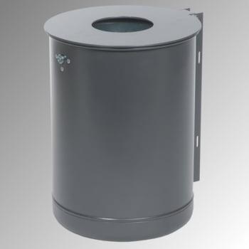 Rund-Abfallbehälter mit Deckelscheibe - 50 l - Eisenglimmer