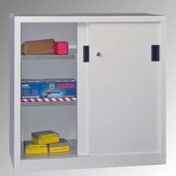 Schiebetürenschrank - Sichtfenstertüren - 1.000x1.000x600 mm (HxBxT) - 2 Böden, verzinkt - Zylinderschloss - lichtgrau/feuerrot online kaufen - Verwendung 3