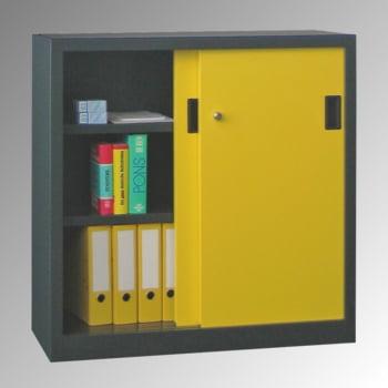 Schiebetürenschrank - Sichtfenstertüren - 1.000x1.000x600 mm (HxBxT) - 2 Böden, verzinkt - Zylinderschloss - lichtgrau/feuerrot online kaufen - Verwendung 4