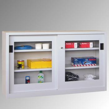 Schiebetürenschrank - Sichtfenstertüren - 1.000x1.000x600 mm (HxBxT) - 2 Böden, verzinkt - Zylinderschloss - lichtgrau/feuerrot online kaufen - Verwendung 5