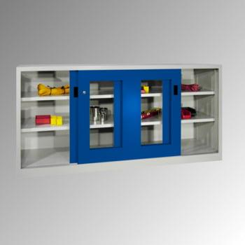 Schiebetürenschrank - Sichtfenstertüren - 1.000x1.000x600 mm (HxBxT) - 2 Böden, verzinkt - Zylinderschloss - lichtgrau/feuerrot online kaufen - Verwendung 7