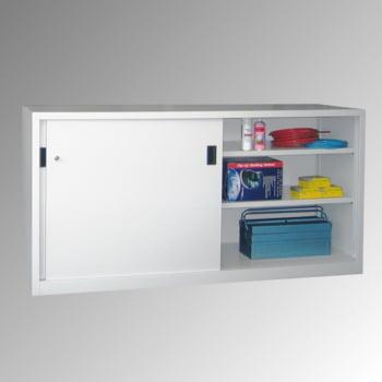 Schiebetürenschrank - Sichtfenstertüren - 1.000x1.000x600 mm (HxBxT) - 2 Böden, verzinkt - Zylinderschloss - lichtgrau/feuerrot online kaufen - Verwendung 8
