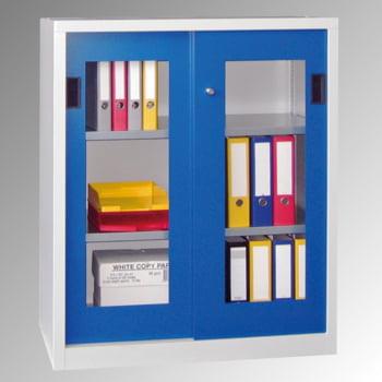 Schiebetürenschrank - Sichtfenstertüren - 1.000x1.000x600 mm (HxBxT) - 2 Böden, verzinkt - Zylinderschloss - lichtgrau/feuerrot online kaufen - Verwendung 0
