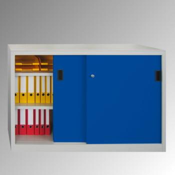 Schiebetürenschrank - Sichtfenstertüren - 1.000x1.500x400 mm (HxBxT) - 4 Böden, verzinkt - Zylinderschloss - enzianblau online kaufen - Verwendung 3