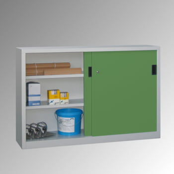 Schiebetürenschrank - Sichtfenstertüren - 1.000x1.500x400 mm (HxBxT) - 4 Böden, verzinkt - Zylinderschloss - enzianblau online kaufen - Verwendung 4
