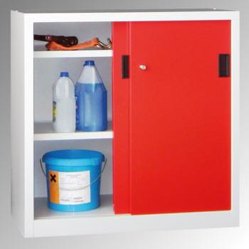 Schiebetürenschrank - Sichtfenstertüren - 1.000x1.500x400 mm (HxBxT) - 4 Böden, verzinkt - Zylinderschloss - enzianblau online kaufen - Verwendung 8
