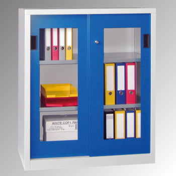 Schiebetürenschrank - Sichtfenstertüren - 1.000x1.500x400 mm (HxBxT) - 4 Böden, verzinkt - Zylinderschloss - enzianblau online kaufen - Verwendung 9