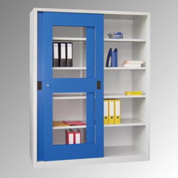Schiebetürenschrank - Sichtfenstertüren - 1.950x1.500x400 mm (HxBxT) - 8 Böden, verzinkt - Zylinderschloss - lichtgrau/feuerrot online kaufen - Verwendung 2
