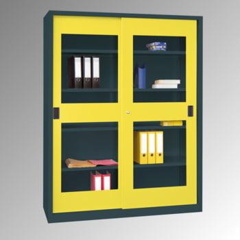 Schiebetürenschrank - Sichtfenstertüren - 1.950x1.500x400 mm (HxBxT) - 8 Böden, verzinkt - Zylinderschloss - lichtgrau/feuerrot online kaufen - Verwendung 3
