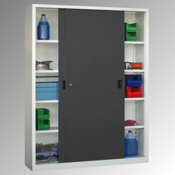 Schiebetürenschrank - Sichtfenstertüren - 1.950x1.500x400 mm (HxBxT) - 8 Böden, verzinkt - Zylinderschloss - lichtgrau/feuerrot online kaufen - Verwendung 5