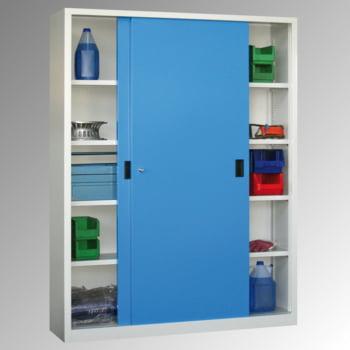 Schiebetürenschrank - Sichtfenstertüren - 1.950x1.500x400 mm (HxBxT) - 8 Böden, verzinkt - Zylinderschloss - lichtgrau/feuerrot online kaufen - Verwendung 6