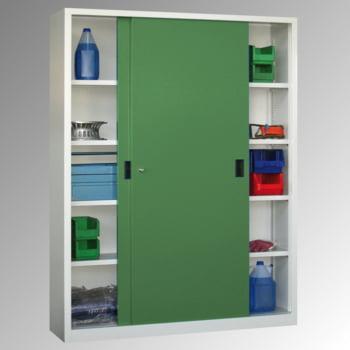 Schiebetürenschrank - Sichtfenstertüren - 1.950x1.500x400 mm (HxBxT) - 8 Böden, verzinkt - Zylinderschloss - lichtgrau/feuerrot online kaufen - Verwendung 7