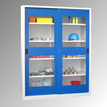 Schiebetürenschrank - Sichtfenstertüren - 1.950x1.500x400 mm (HxBxT) - 8 Böden, verzinkt - Zylinderschloss - lichtgrau/feuerrot online kaufen - Verwendung 0