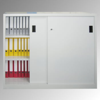 Schiebetürenschrank - Vollblechtüren - 1.200x1.500x400 mm (HxBxT) - 4 Böden, verzinkt - Zylinderschloss - lichtgrau