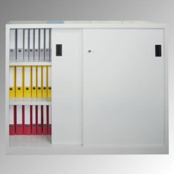 Schiebetürenschrank - Vollblechtüren - 1.200x1.500x400 mm (HxBxT) - 4 Böden, verzinkt - Zylinderschloss - lichtgrau/enzianblau